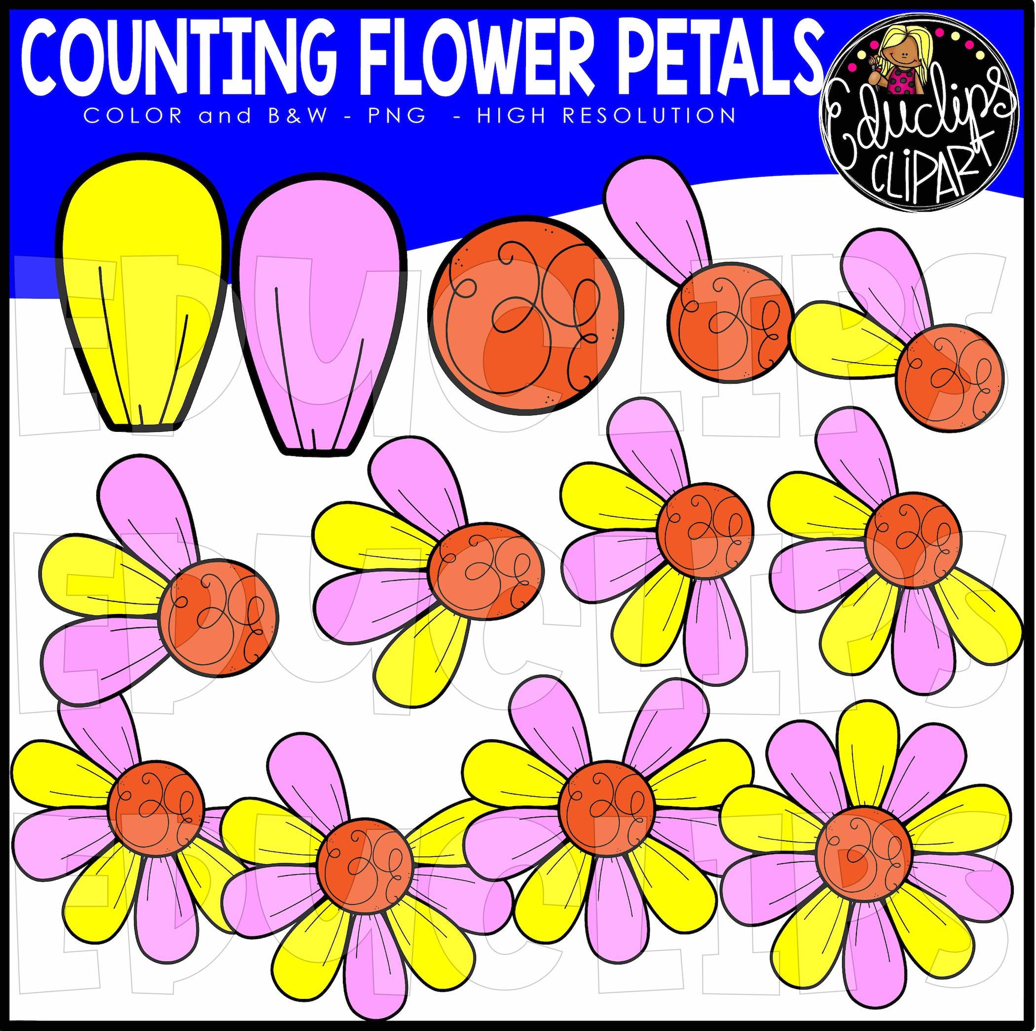 Counting Flower Petals Clip Art Set