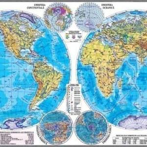 GHL1FG Materiale didactice geografie harti murale gigant HARTA EMISFERELOR PLANIGLOBUL 35002400