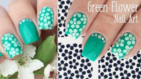 Green Flower Nail Art Using Vinyls From Vinailicious