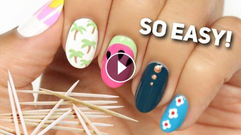No Tool Nail Art Only A Household Item Toothpick In Today S Tutorial Hannah Will Be Showing You 5 Easy And Cute Designs That