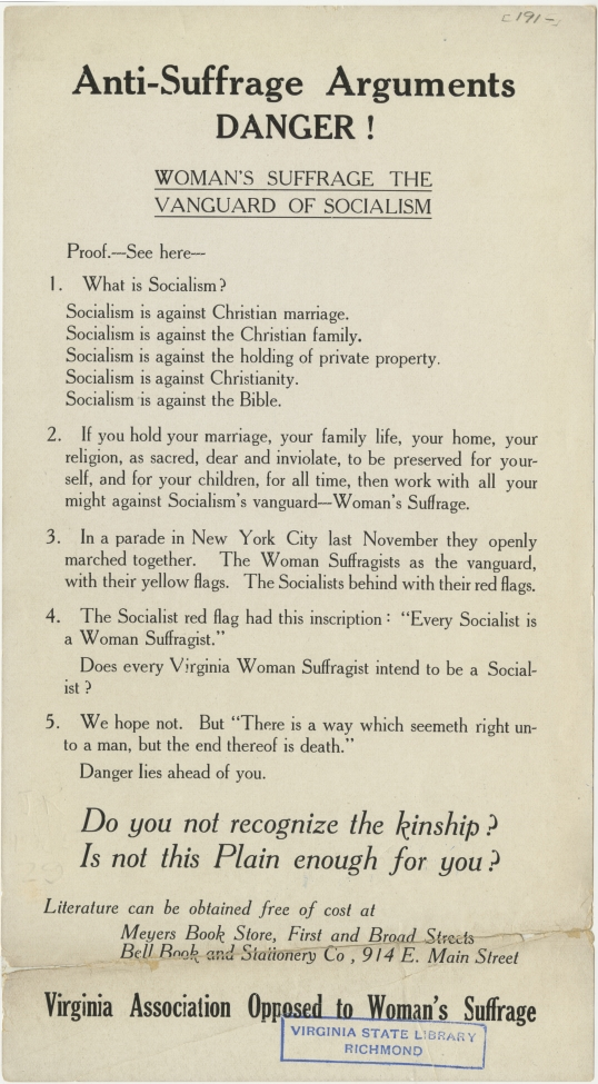 AntiSuffrage Arguments Broadside c 1910  Document