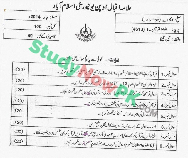 AIOU-MA-Islamic-Studies-Code-4613-Past-Papers-Spring-2014
