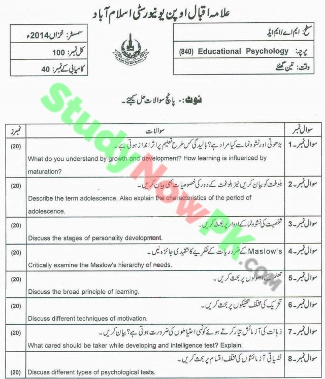 AIOU-MA Education DNFE-Code-840-Past-Papers-Autumn-2014