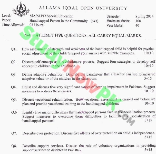 AIOU-MA-Islamic-Studies-Code-673-Past-Papers-Spring-2014