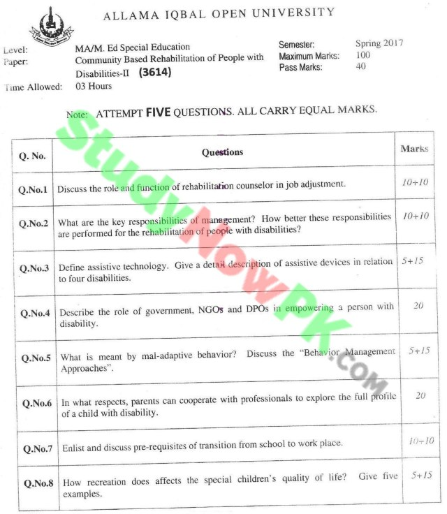 AIOU-MA-Special-Education-Code-3614-Past-Papers-Spring-2017