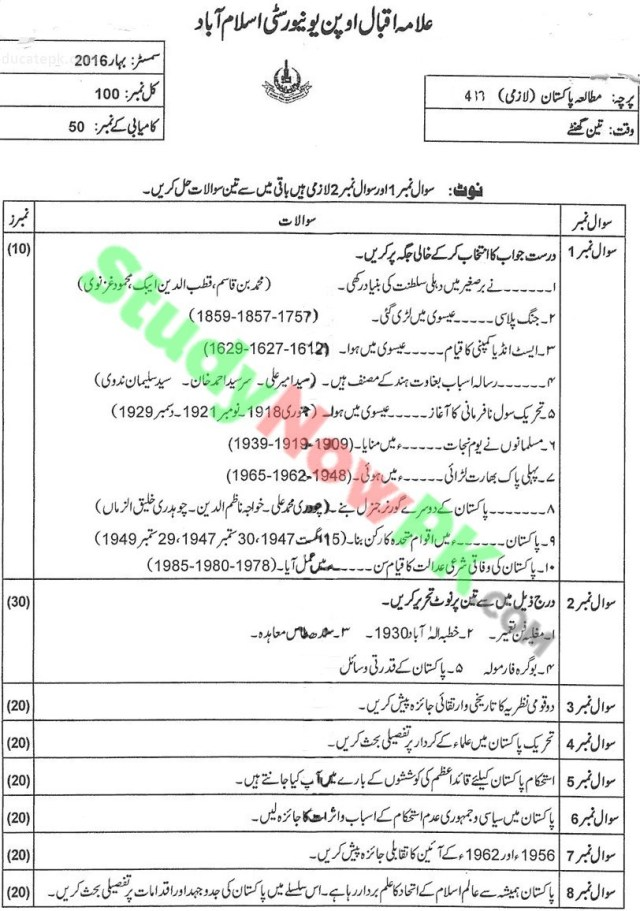 aiou-code-417-BEd-Past-Papers-Spring-2016