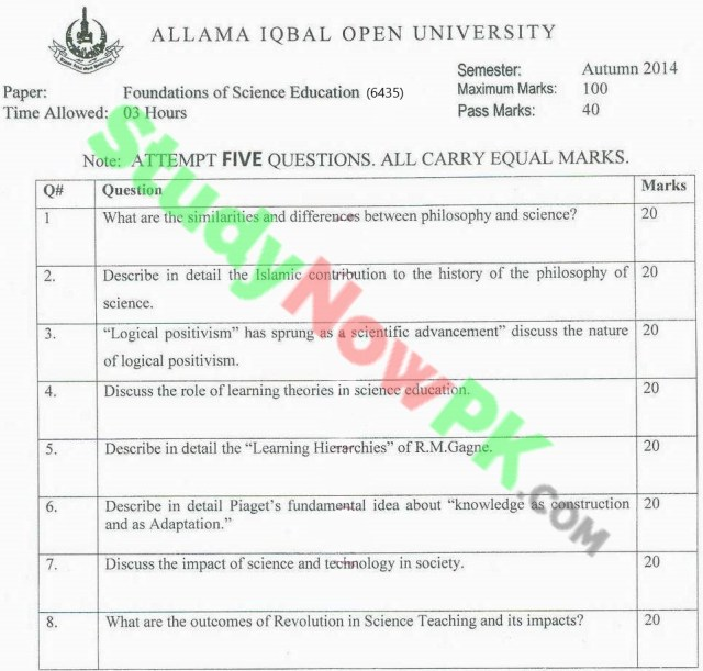 AIOU-BEd-Code-6435-Past-Papers-Autumn-2014