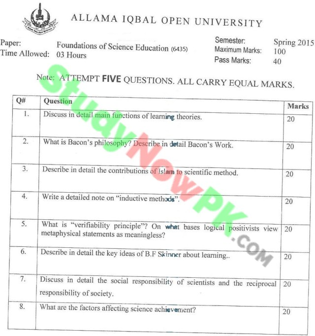 AIOU-BEd-Code-6435-Past-Papers-Spring-2015