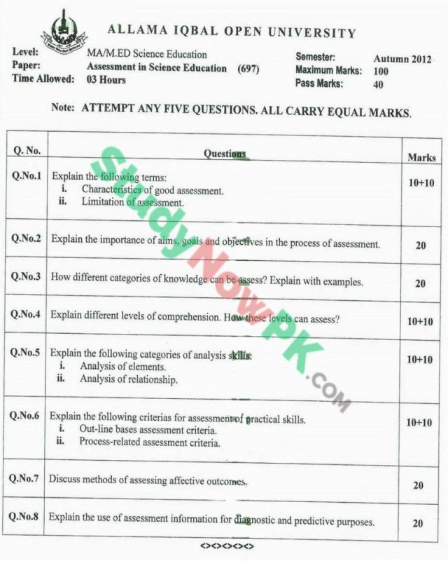 AIOU-MEd-Code-697-Past-Papers-Autumn-2012