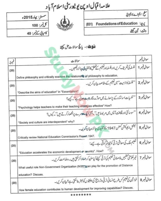 AIOU-MEd-Code-831-Past-Papers-Spring-2015