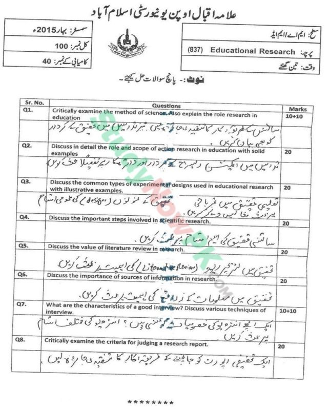 AIOU-MEd-Code-837-Past-Papers-Spring-2015