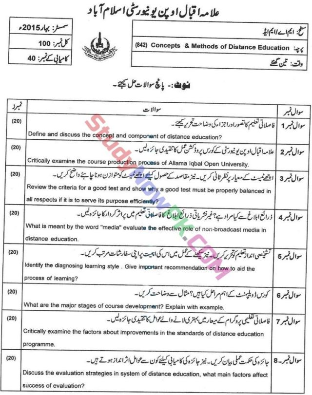 AIOU-MEd-Code-842-Past-Papers-Spring-2015