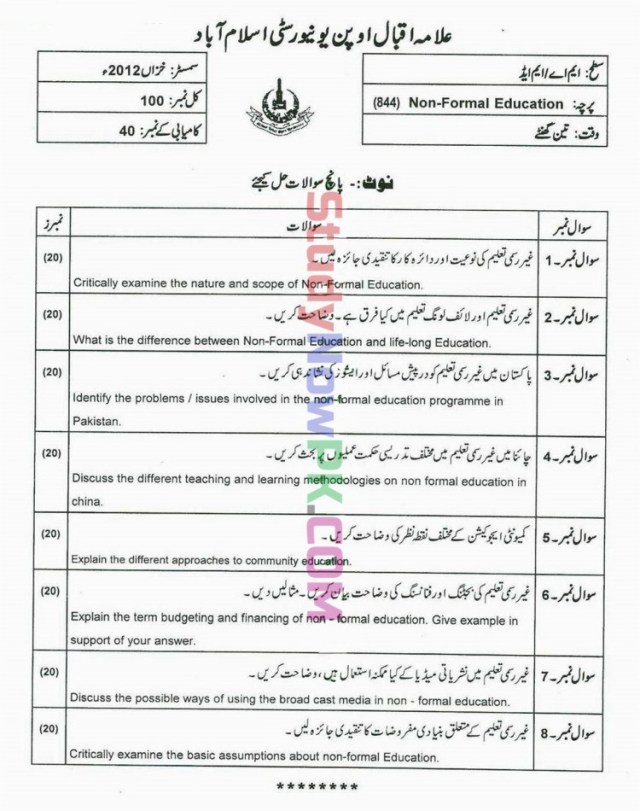 AIOU-MEd-Code-844-Past-Papers-Autumn-2012