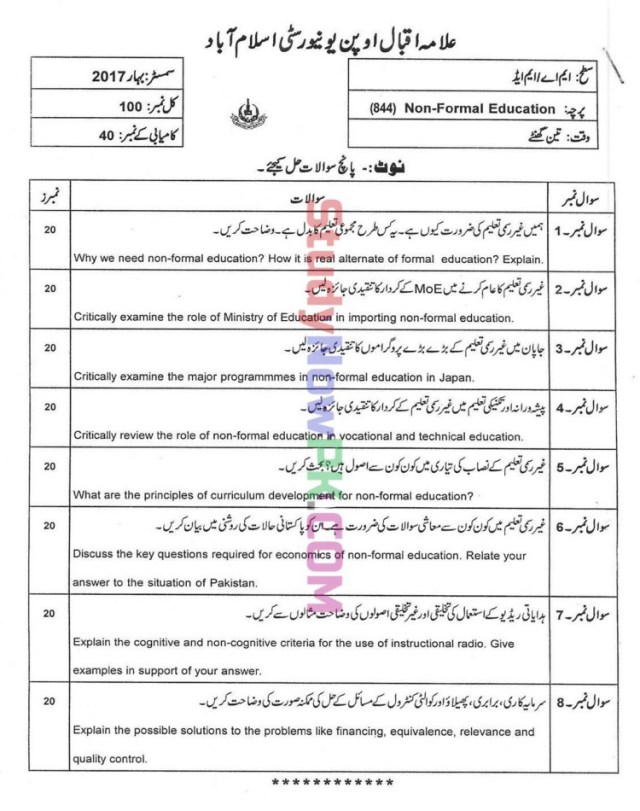 AIOU-MEd-Code-844-Past-Papers-Spring-2017