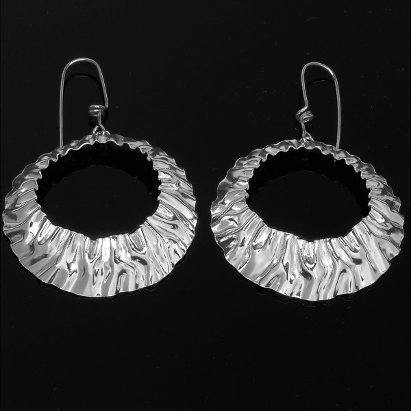 hand wrinkled sterling silver andes earrings