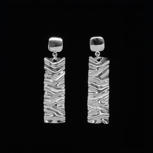 hand wrinkled sterling silver earrings