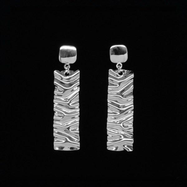 hand wrinkled sterling silver earrings
