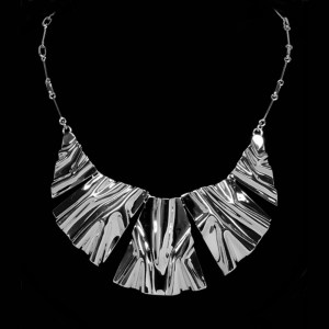 hand wrinkled sterling silver andes necklace