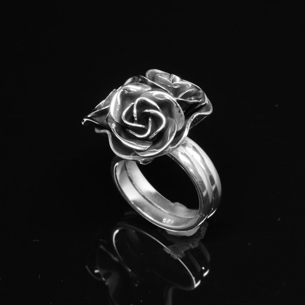 Sterling Silver Adjustable Bunch of Roses Ring