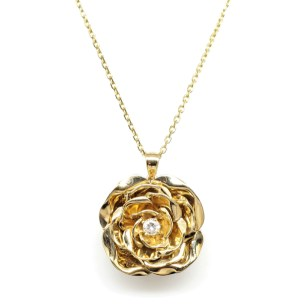 14K Yellow Gold Rose Pendant with Round Diamond