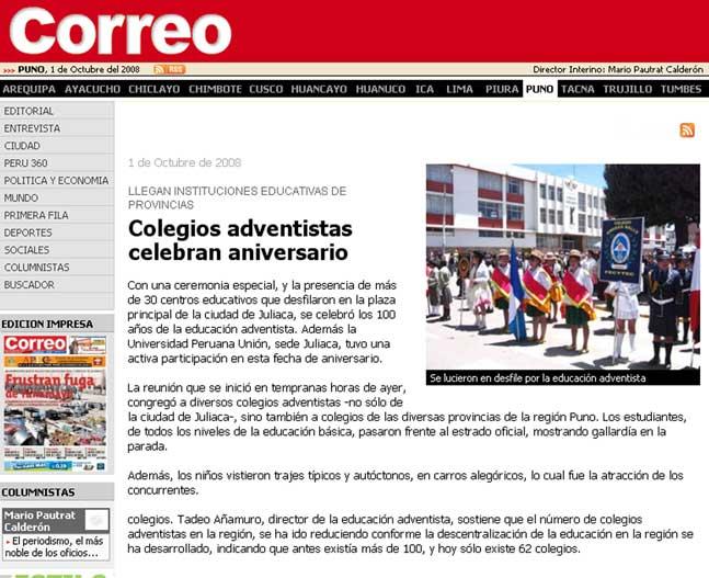 Principal diario resalta desfile en el altiplano del per for Planos mobiliario escolar peru