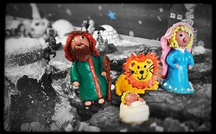 San José, la Virgen, el Niño y el león