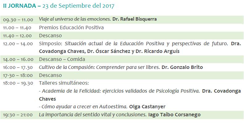 programa primer congreso educación positiva
