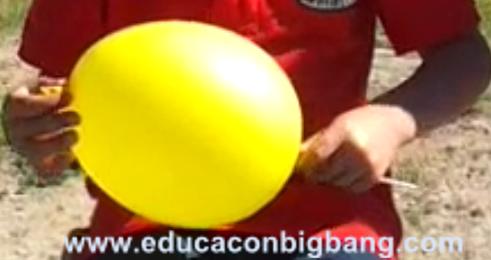 Introduciendo el palito en el globo