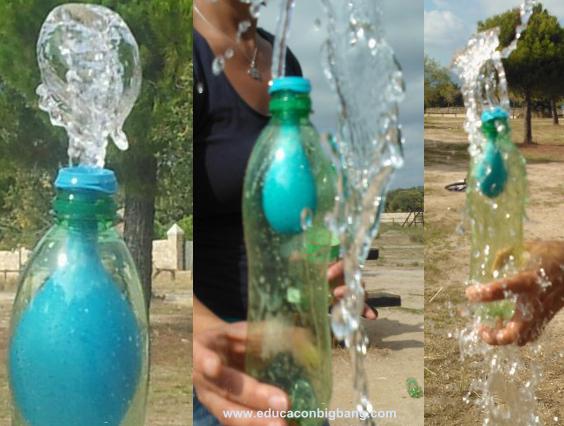 Chorro de agua saliendo del globo