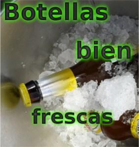 Botellas enfriándose en hielo