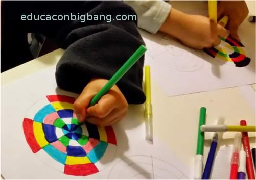Pintando los círculos de colores