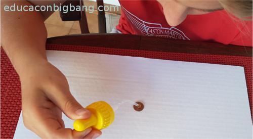 Echando agua en moneda con cuentagotas