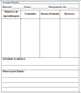planejamento diário  BNCC