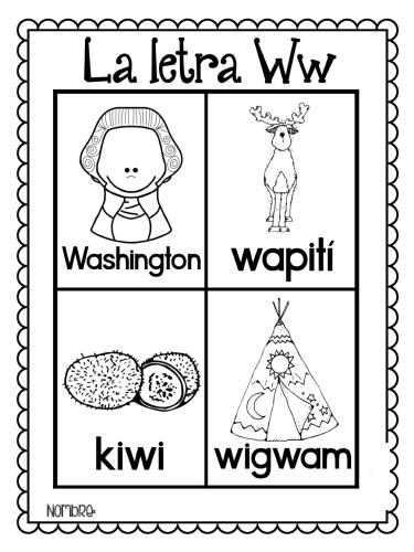 láminas-para-colorear-todas-las-palabras-del-alfabeto-W   Material ...