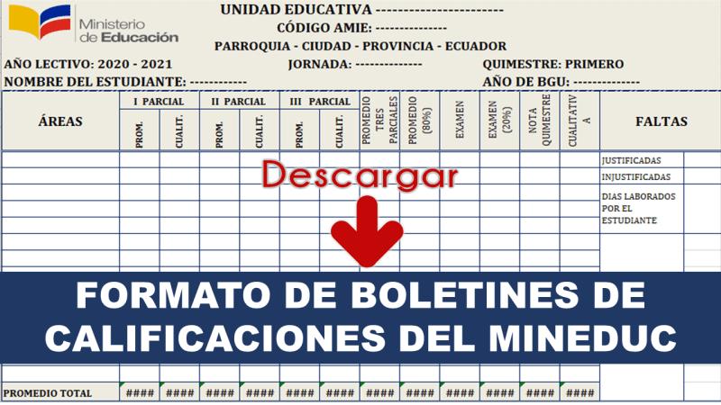 Formato de Boletines de Calificaciones del MinEduc