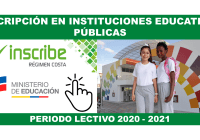 Inscripción en Instituciones Educativas Públicas Costa - Periodo 2020 - 2021
