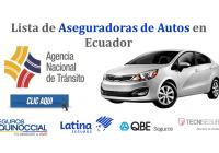 Lista de Aseguradoras de Autos en Ecuador