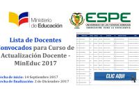 Lista de Docentes Convocados para Curso de Actualización Docente - MinEduc 2017