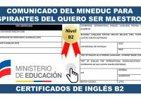 Comunicado del MinEduc para Aspirantes del Quiero Ser Maestro 6 - Certificados de Inglés B2 1