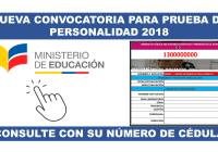 Nueva Convocatoria para Prueba de Personalidad 2018