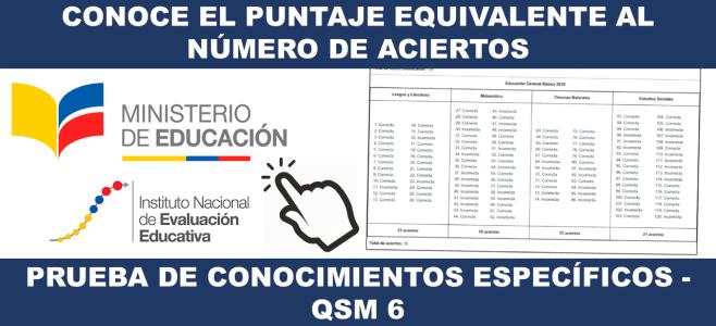 Conoce el Puntaje equivalente al Número de Aciertos en la Prueba de Conocimientos Específicos - QSM 6