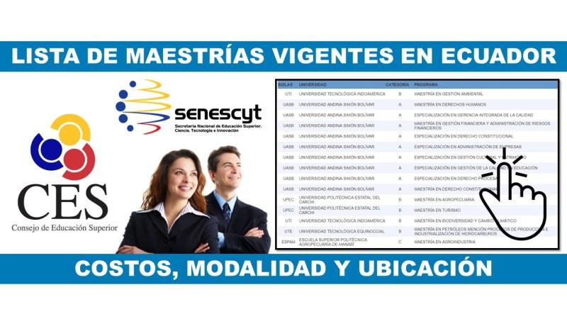 Lista de Maestrías en Ecuador
