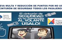 Nueva multa y Reducción de Puntos por NO usar Cinturón de Seguridad todos los pasajeros
