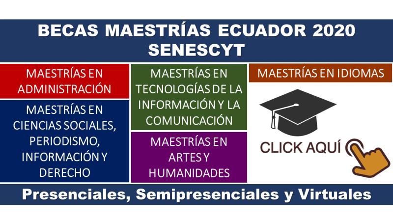Becas Maestrías en Ecuador de la Senescyt (Presenciales, Semipresenciales y Virtuales)