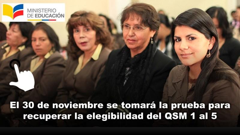 El 30 de noviembre se tomará la prueba para recuperar la elegibilidad del QSM 1 al 5