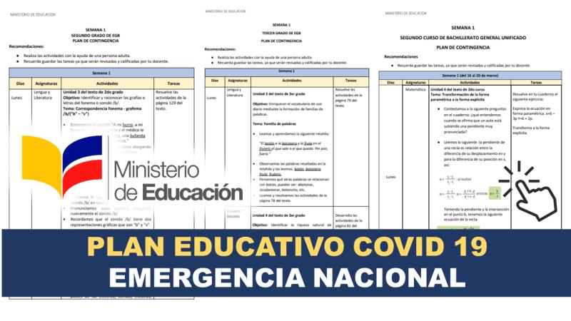 Plan Educativo del MinEduc por Emergencia Nacional