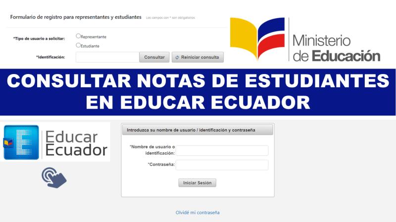 Consultar Notas en EducarEcuador de Estudiantes