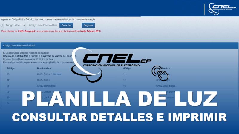 Consultar Planilla de Luz Ecuador CNEL EP