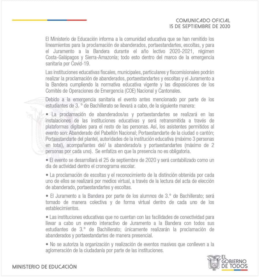 juramento a la bandera lineamientos 2020 ministerio de educacion mineduc