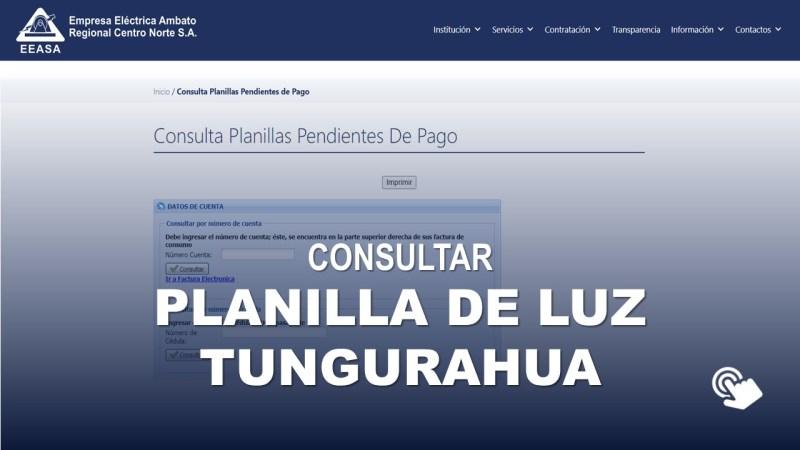 Consultar Planilla de Luz Tungurahua EEASA